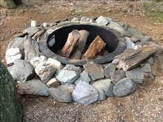 "I made this fire pit at home after camping in Maine. Super easy. You will need a fire ring, or if you can find one, a tractor trailer rim works too.  Dig a hole approximately 4"" deep, and the diameter of the ring. Place ring in hole, and back fill with the dirt removed from the hole. . I got all the slate and other rocks on my property, so no cost there. Surround the pit, as shown, and because the ring has no bottom, it will drain naturally into the ground when it rains."