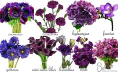 Different shades of Purple Bridal Bouquets | Here are some more of our favorite Purple Flowers for weddings (sort ...