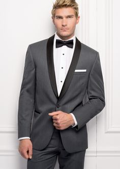 Michael Kors Grey Destiny One Button Trim Fit Shawl www.harleysvillebridal.com