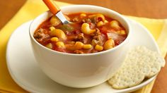 Cooking a hearty main-dish soup is quick and easy with a Hamburger Helper® mix.