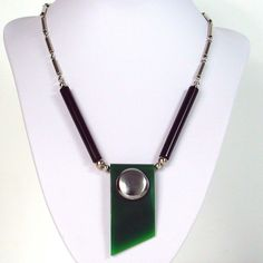 Jakob BENGEL ART DECO CHROME GREEN & BLACK GALALITH NECKLACE 1930s MACHINE AGE #JakobBengel