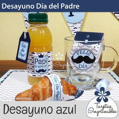 Día del Padre Desayuno personalizado. PDF imprimible con Dad Day, Mom And Dad, Happy Fathers Day, Fathers Day Gifts, Man Birthday, Homemade Gifts, Diy And Crafts, Lunch Box, Pouch