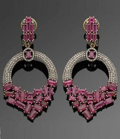 A pair of antique gold, silver, diamond and ruby earrings, Russian, circa 1900. #antique