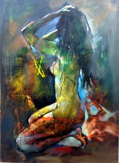 Kneeling Model, Acrylic painting by Anthony Barrow | Artfinder