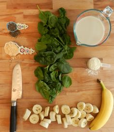 The Green Gorilla - green smoothie with banana, powdered peanut butter, spinach, almond milk, whey protein, chia seed.