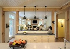 Kitchen remodel with amazing double islands.  Oh to have this much workspace!