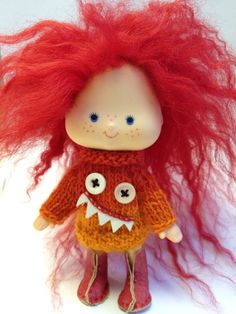 I'm looking for some clothes for our vintage Strawberry Shortcake dolls - if I knew how to knit I'd make a dozen of these. Perfect for my little tomboy! (JollyPolly on Etsy.)