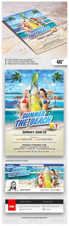 Summer Beach Flyer Template - #Events #Flyers Download here: https://graphicriver.net/item/summer-beach-flyer-template/4808260?ref=alena994