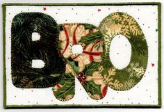 Bro Christmas Quilted Fabric Postcard Handmade Ready to ship -- ZizzyBob