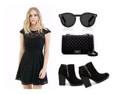 """Rowan Lace Black Dress"" by baileyblueclothing on Polyvore"