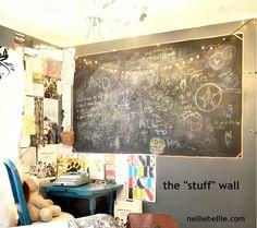 "the ""stuff"" wall - LOVE!  NellieBellie: teen bedroom stuff wall"