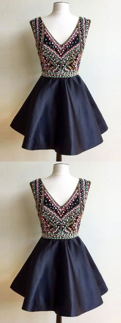 Chic Homecoming Dress V-neck homecoming dress A-line homecoming dress Rhinestone homecoming dress Short Prom Dress Tulle Party Dress cheap prom dresses prom dresses 2017 prom dresses 2018 plus size prom dresses short prom dresses prom dresses cheap #annapromdress #homecomingdress #homecoming #shortdress #shortpromdress #partydress #party #prom #fashion #style #dress