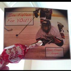 My hockey version of the lollipop valentine card!!!