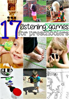 Art therapy activities for preschoolers These 17 listening games for preschoolers are a fun way to help your kids work on their listening skills! Preschool Learning, Sensory Activities, Therapy Activities, Early Learning, Toddler Activities, Learning Activities, Preschool Activities, Kids Learning, Play Therapy