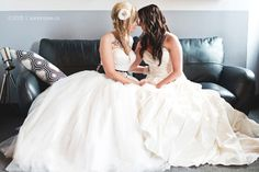This lesbian wedding is all about rain boots, felt bouquets, and co-written vows pledging eternal love for cats. Lesbian Wedding, Wedding Bride, Dream Wedding, Lesbian Couples, Wedding Poses, Wedding Dresses, Wedding Ideas, Fabric Bouquet, Two Brides