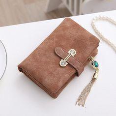 MFS 2016 New Fashion Women Wallets Drawstring Nubuck Leather Zipper Wallet Women's Short Design Purse Retro Tassels Clutch