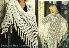 Two Shawl Crochet Patterns  Womens Lacy by GrandmaHadItGoinOn