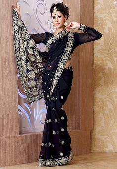 #Black Faux Georgette #Saree with Blouse Online Shopping: SXS847