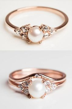 Pearl and Diamond Rose Gold Engagement Ring - Diamond Alternative Engagement Ring Stone - Jewelry - Stacking Rings - With Optional Stacking Wedding Band, Anniversary Band #engagementrings #weddings #pushpresents #jewelry #rings #weddingdresses #diamondrings #weddingjewelry #diaondbandring #weddingpearls #weddingbands