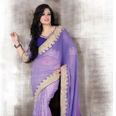 #Purple Faux Chiffon and Brasso Faux Georgette #Saree with Blouse