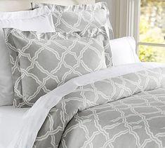 Kendra Trellis Duvet Cover & Sham - Gray | Pottery Barn -- for the guest bedroom