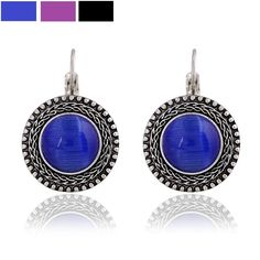 Find More Drop Earrings Information about Graceful Vintage Silver Filigree Blue Opal Round Earrings Exotic Look Big Round Stone Craftwork  Antique Boho Clip on Earrings,High Quality earrings plate,China earring necklace Suppliers, Cheap earring and necklace set from Dreamland Dresses & Accessories on Aliexpress.com