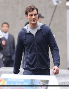 Behind the scene. Jamie Dornan's 'Fifty Shades of Grey' Character Christian Grey Jogs in Head-to-Toe Grey Outfit! January 29th 2014