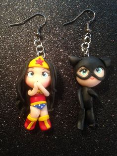 Polymer Clay Super Heroes Earrings - Wonder Woman & Catwoman