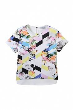 Cropped top in geometrical floral print - FrontRowShop