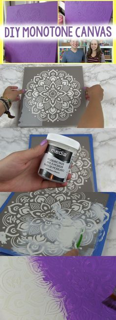 DIY Monotone Canvas #decoartprojects #decoartmedia