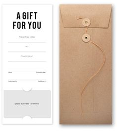 Salon gift certificate that prominently features your business card. Includes cute button & string craft envelopes. #hairsalon #barbershop #salonstationary
