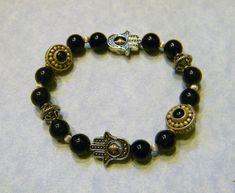 Black Jasper and Bali Silver and Sterling Hamsa Bead Frame Stretch Bracelet