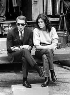Steve McQueen and Jacqueline Bisset on the set of Bullitt