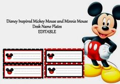 Mickey and Minnie Mouse Desk Plates Editable Mickey Mouse Room, Mickey Mouse Classroom, Disney Classroom, School Classroom, Classroom Themes, Desk Name Plates, Class Management, Disney Stuff, Disney Inspired