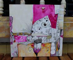"New collection Zen Abstract orginal 12 x 12 cradled board ""Balancing Act""…"