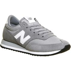 New Balance 620 Trainers ($93) ❤ liked on Polyvore featuring shoes, sneakers, cw grey white, trainers, unisex sports, narrow shoes, new balance trainers, white shoes, grey sneakers and grey shoes