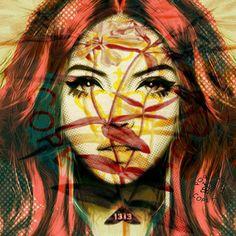 Face 1313 Pop Art by Martin Pop