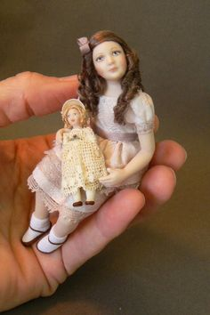 Dollhouse Girl With Her Dolly by DixonPaverDolls on Etsy