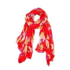 Cheap red increased widening fashion flower colorful wild scarf