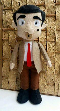 Mr Bean, Felt Crafts, Diy And Crafts, Living Dead Dolls, Felt Dolls, Felt Art, Felt Ornaments, Diy Toys, Diy Party