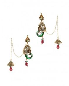 insanely exquisite Indian earrings/with catch to hair (what do you call that? Love it!)