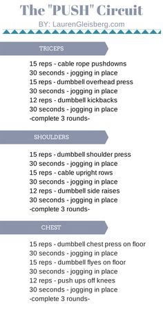 A circuit of all push movements to tone and tighten the upper body | LaurenGleisberg.com