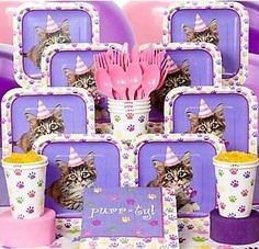 Kitty Cat Birthday    Kitty Cat Party Standard Kit Serves 8 Guests  Our Price:From  $13.49