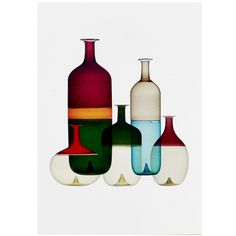In the Tapio Wirkkala designed a series of beautiful glass bottles for the Italian company Venini. These colorful bottles create a beautiful ensemble that is presented in this poster. Grassi Museum, Multimedia Arts, Decorated Jars, Scandinavian Living, Nordic Design, Murano Glass, Textures Patterns, Glass Bottles, All The Colors