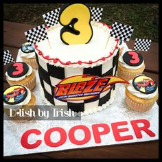 Blaze and the Monster Machines Cake and Cupcakes