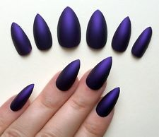 Hand Painted False Nails STILETTO Full Cover Matte Purple cadburys NEW COLOUR uk
