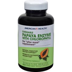American Health Papaya Enzyme With Chlorophyll Chewable - 600 Chewable Tablets - American Health Papaya Enzyme With Chlorophyll Chewable Description:   Natural Digestive Enzyme Support Promotes Nutrient Absorption Our famous blend with Chlorophyll is the perfect after meal supplement to help support and maintain daily digestive health. We combine the finest quality of freshly ripened Papaya fruit with papain amylase and protease enzymes which aid in the digestion of proteins and…