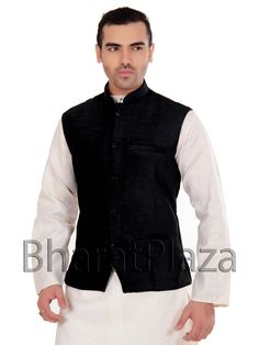 Stunning black color velvet nehru jacket.Item Code : SKU : SKPD5009