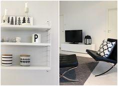 Scandinavian home. String Pocket, Normann Copenhagen LightHouse, Barcelona chair