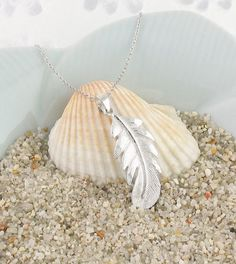 Feather Necklace in Sterling Silver